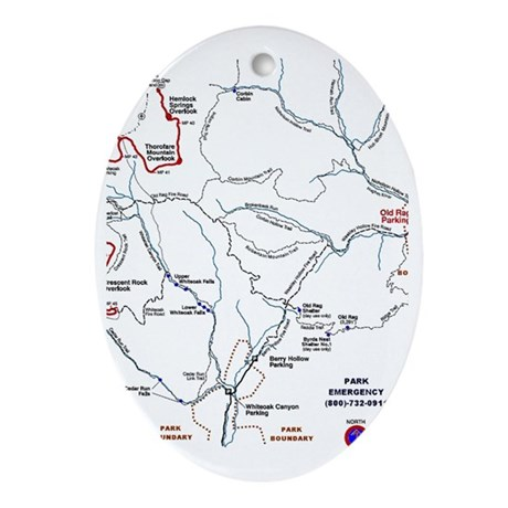 Old Rag Mountain trail map Oval Ornament Old Rag Mountain