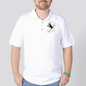 Happy Skiing Penguin Golf Shirt