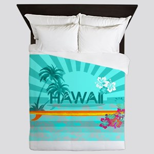 Hawaii Emerald sun fish ocean Queen Duvet