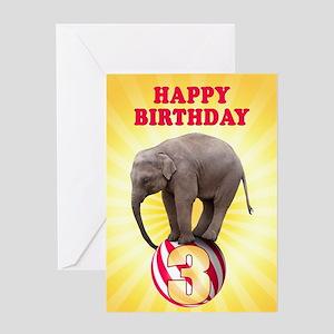 3rd birthday, Elephant on a Ball Greeting Cards