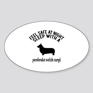 Feel Safe At Night Sleep With Pembr Sticker (Oval)