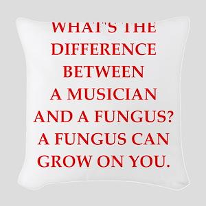 funny fungus joke Woven Throw Pillow