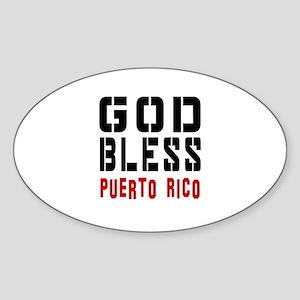 God Bless Puerto rico Sticker (Oval)