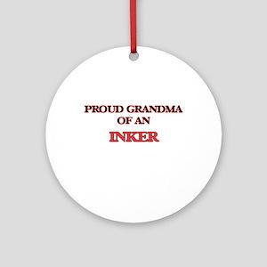 Proud Grandma of a Inker Round Ornament