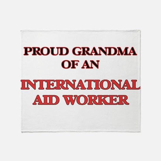 Proud Grandma of a International Aid Throw Blanket