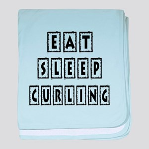 Eat Sleep Curling baby blanket