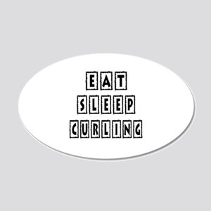 Eat Sleep Curling 20x12 Oval Wall Decal