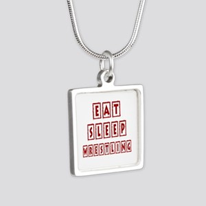 Eat Sleep Wrestling Silver Square Necklace