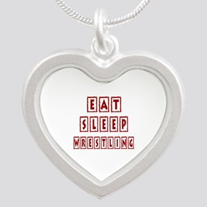 Eat Sleep Wrestling Silver Heart Necklace