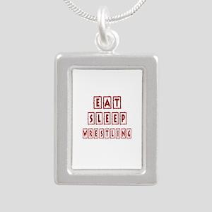 Eat Sleep Wrestling Silver Portrait Necklace