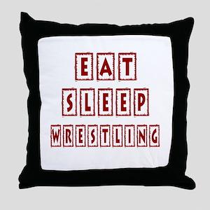 Eat Sleep Wrestling Throw Pillow