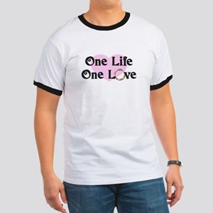 One Life One Love Pink Heart T-Shirt