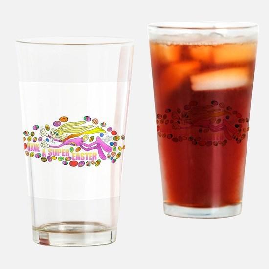 Cute Super bunny Drinking Glass