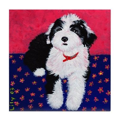 Old English Sheepdog Puppy ~ Tile Coaster
