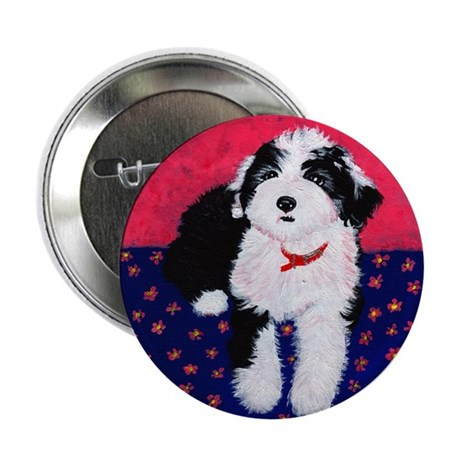 """Old English Sheepdog Puppy ~ 2.25"""" Button (10 pac"""