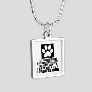 Japanese Chin Awkward Dog Silver Square Necklace