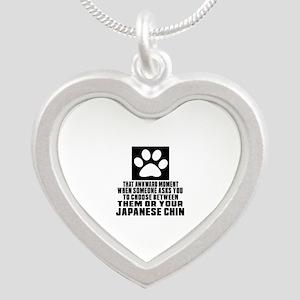 Japanese Chin Awkward Dog De Silver Heart Necklace