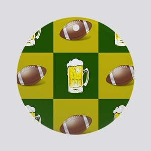 football and beer Round Ornament