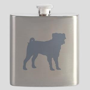 Pug Lt Blue 1C Flask