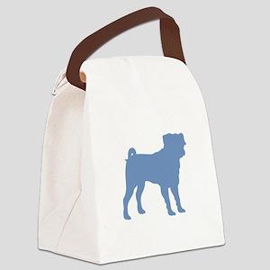 Pug Lt Blue 1C Canvas Lunch Bag