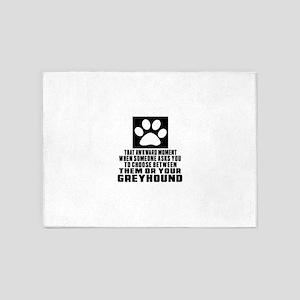Greyhound Awkward Dog Designs 5'x7'Area Rug