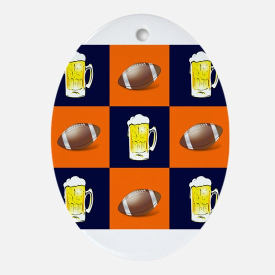 Football and Beer Oval Ornament