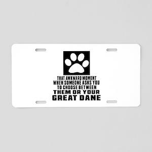 Great Dane Awkward Dog Desi Aluminum License Plate