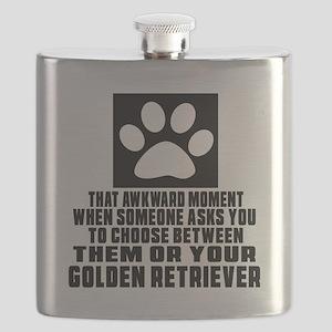 Golden Retriever Awkward Dog Designs Flask