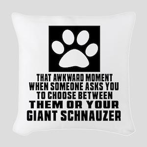 Giant Schnauzer Awkward Dog De Woven Throw Pillow