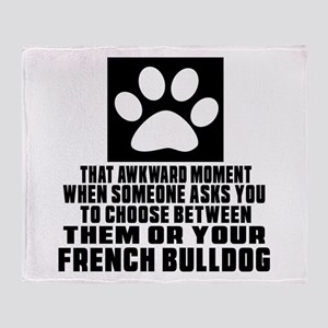 French Bulldog Awkward Dog Designs Throw Blanket