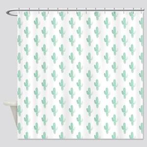 Watercolor Cactus Pattern Shower Curtain