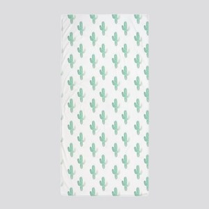 Watercolor Cactus Pattern Beach Towel