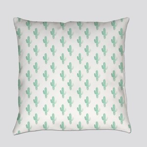 Watercolor Cactus Pattern Everyday Pillow