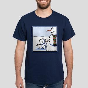 Snowman Builder Westie Dark T-Shirt