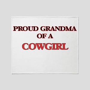 Proud Grandma of a Cowgirl Throw Blanket
