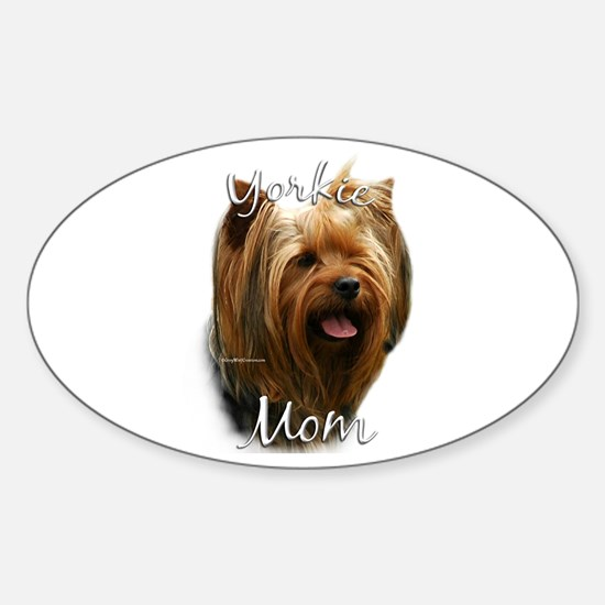Yorkie Mom2 Oval Decal