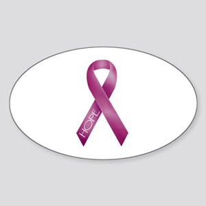 Bergundy Ribbon Oval Sticker