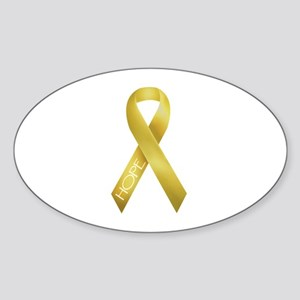 Gold Ribbon Oval Sticker