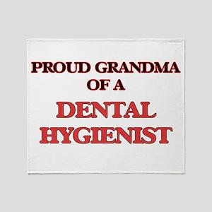 Proud Grandma of a Dental Hygienist Throw Blanket