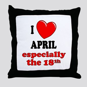 April 18th Throw Pillow