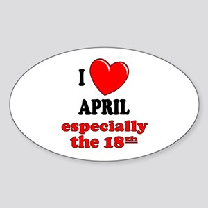 April 18th Oval Sticker