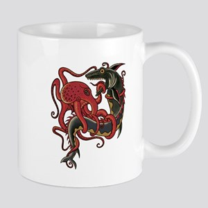 tattoo design octopus fighting shark Mugs