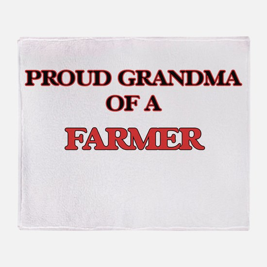 Proud Grandma of a Farmer Throw Blanket