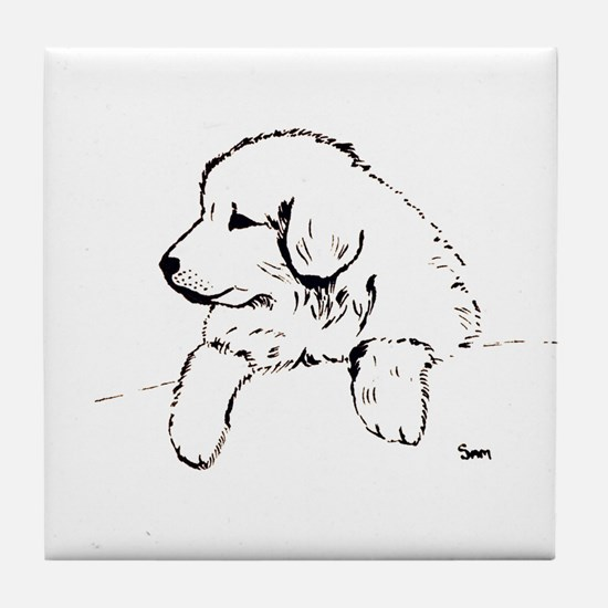 Great Pyrenees puppy Tile Coaster