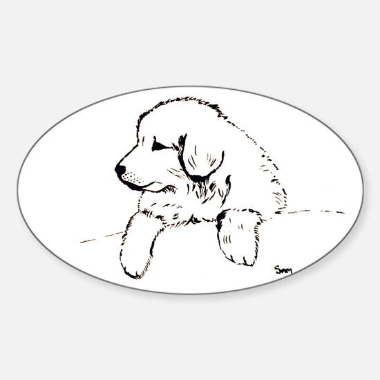 Great Pyrenees puppy Oval Decal