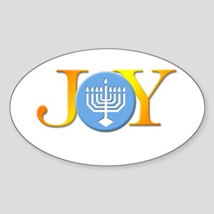 Joy Menorah Oval Sticker