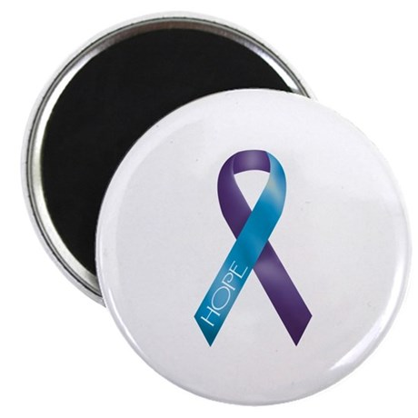 "Purple/Teal Ribbon 2.25"" Magnet (100 pack)"