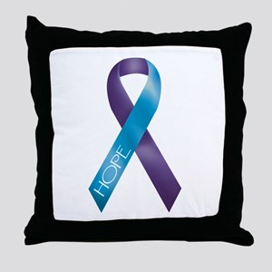 Purple/Teal Ribbon Throw Pillow