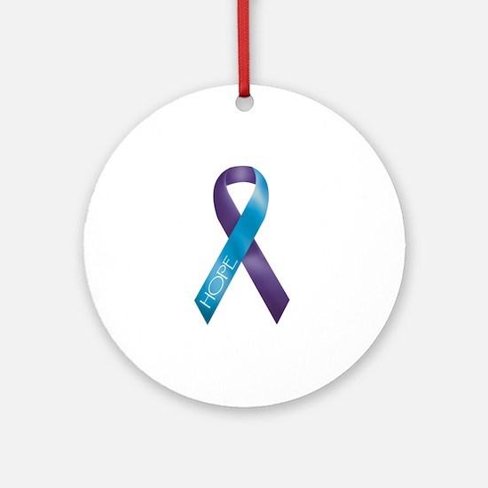 Purple/Teal Ribbon Ornament (Round)