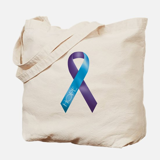 Purple/Teal Ribbon Tote Bag